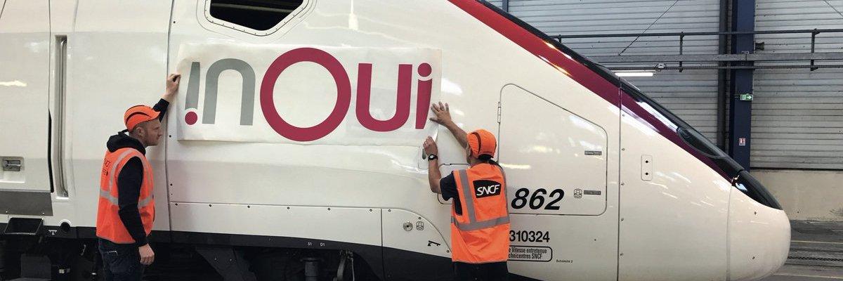 INOUI appliqué sur les rames de TGV SNCF